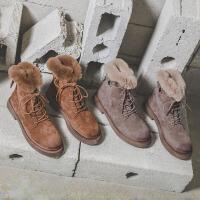 杏色短靴女杏色雪地靴新款平底短靴女加绒保暖英伦复古磨砂系带马丁靴女 TBP
