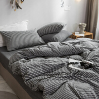 水洗棉四件套简约条纹单双人床单被套床上用品三件套