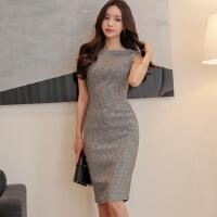 2018夏装新款韩版女装气质简约修身中长款千鸟格包臀连衣裙 千鸟格