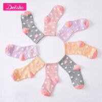 【3折价:32】笛莎童袜女童袜子新款儿童甜美花朵女宝宝提花短袜四双组
