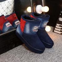 雪地靴女短筒冬季牛仔布拼色加绒棉鞋女生厚底短靴女鞋