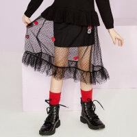 【2件2.5折到手价:49.8】美特斯邦威旗下moomoo童装女童长款网纱裙春季装洋气迪士尼卡通中大儿童裙子