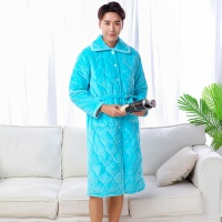 款睡袍男冬季加厚加长款珊瑚绒睡衣夹棉加绒秋冬款冬天 纯蓝色睡袍加绒加厚
