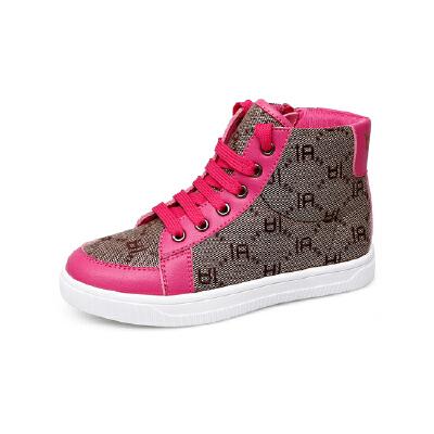 比比我童鞋高帮儿童f帆布休闲鞋2017新款男童时装鞋韩版舒适洋气女童鞋