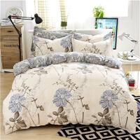 简约纯棉四件套 春夏全棉床品套件1.5m1.8米床笠款床单被套4件套上新 浅灰色 似水流年