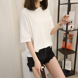夏装女2018新款欧货竖条纹短袖T恤女夏宽松薄款上衣潮