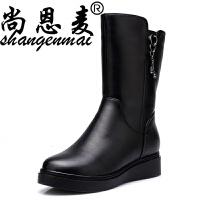 春季真皮中筒靴坡跟平底靴羊毛棉鞋加绒保暖女靴子软底防滑女棉靴 黑色