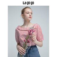 Lagogo2019年夏季新款女装一字领学院风上衣竖条纹短袖棉T恤潮HASS325Y15