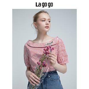 Lagogo2018年夏季新款女装一字领学院风上衣竖条纹短袖棉T恤潮HASS325Y15