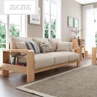 ZUCZUG实木沙发橡木简约三人位布艺沙发组合日式客厅家具木沙发 原木色(座包可拆洗)