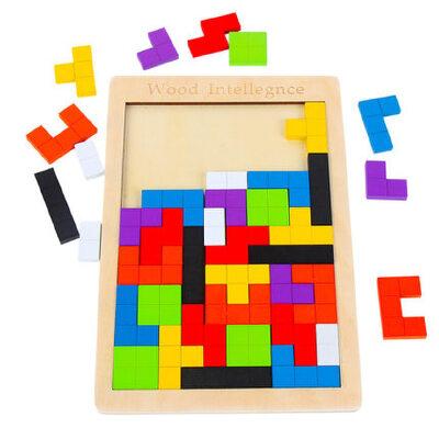 俄罗斯方块拼图积木制儿童早教益智力开发男女孩玩具1-2-3-4-6岁 罗斯方块积木 大脑开发