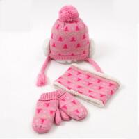 宝宝三件套帽子围巾手套冬天男女童小孩秋冬儿童帽子套装