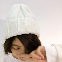 韩国韩版宽边毛线帽光板尖尖帽针织帽子男女秋冬天潮帽子加厚