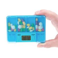 便携式服药提醒器 四格电子定时小药盒 老人吃药提醒器分装药盒