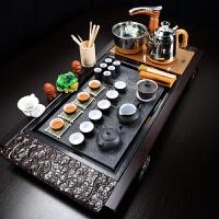 茶具套装陶瓷家用功夫茶实木茶盘茶道喝茶现代简约茶艺全自动茶台 34件