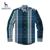Hazzys哈吉斯春夏季新品男士�L袖�r衫�n版�r尚格�y�r衣男潮流男�b