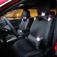 汽车坐垫四季通用新款蔷薇镶钻花可爱女轿车车用座椅车垫套全包