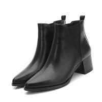 短靴女冬秋2018新款 尖头切尔西女裸靴英伦风高跟粗跟短筒单靴女 经典黑色