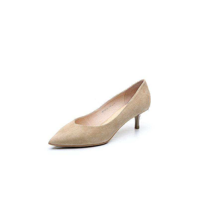 BASTO/百思图2018春季专柜同款杏色羊皮简约通勤优雅尖头细跟女皮鞋RIW23AQ8