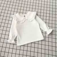 №【2019新款】宝宝打底衫女1-3岁加厚女童加绒打底衣白色儿童娃娃领上衣婴儿t恤