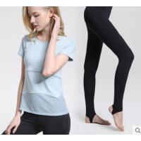 新品宽松显瘦带胸垫瑜伽服套装女运动健身服网纱T恤