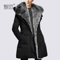 【新年狂欢到手价:498.8】魅斑2019秋冬新款欧美时尚大毛领羽绒服女中长款修身加绒加厚外套