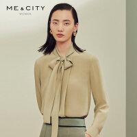 【1件2.5折价:129.8,周末购】真丝雪纺MECITY女装秋季韩版白色设计感小众衬衫