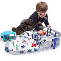儿童轨道车电动小火车停车场加油站汽车套装男孩玩具234-6周 抖音 官方标配