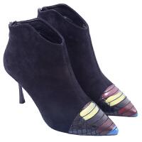 欧美时尚尖头细跟性感马丁靴2018秋冬新款黑色绒面后拉链短靴女靴 黑色
