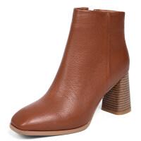 2018新款粗跟真皮短靴女士及踝靴冬秋单靴里外全皮高跟鞋靴子