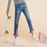 【满1000减750】美特斯邦威牛仔裤女秋季新款修身小脚九分裤246973商场同款