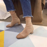 复古方头短靴女加绒保暖秋冬新款粗跟绒面靴优雅拼色显瘦袜靴潮