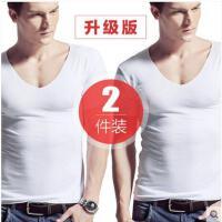 2件装无痕男士内衣莫代尔短袖T恤修身V领紧身纯色打底汗衫