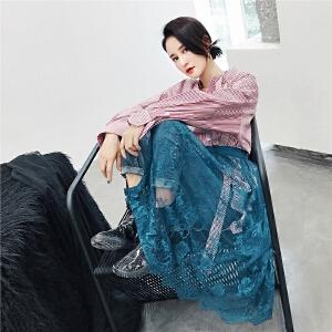 七格格一片式半身裙秋装女士2018新款中长款裙子蕾丝半裙纱裙夏季