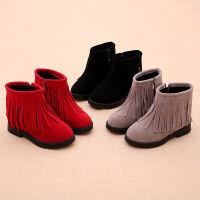 女童靴子冬季童鞋儿童雪地靴流苏棉靴公主短靴棉鞋皮鞋