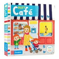 繁忙的咖啡馆 英文原版绘本 Busy Café 忙碌的咖啡馆 儿童英语启蒙机关操作纸板书 进口原版幼儿认知趣味玩具书
