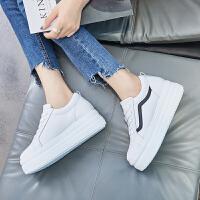 ZHR2018秋季新款韩版小白鞋厚底百搭休闲鞋平底高跟单鞋真皮女鞋