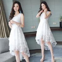 夏装新款韩版气质蕾丝连衣裙无袖修身显瘦欧根纱礼服燕尾裙子 SDE7659白色