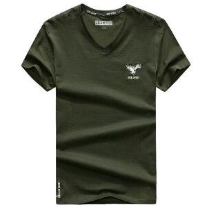 吉普JEEP夏装薄款纯棉V领短袖T恤衫 906001宽松大码休闲男士polo