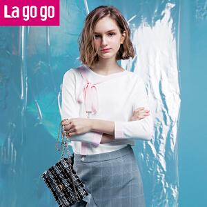 Lagogo/拉谷谷2018年春季新款时尚圆领系带针织衫
