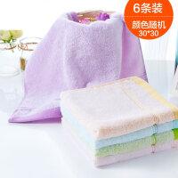 6条装欧林雅竹浆纤维方巾洗脸洁面毛巾儿童小孩方巾柔软速干 6条颜色随机