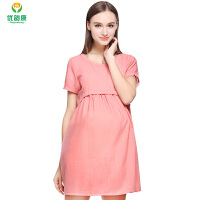 孕妇装夏韩版中长款孕妇韩版孕妇裙子短袖防辐射连衣裙子S +防辐射内胆