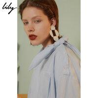 【25折到手价:89.75元】 【SMART系列】Lily春新款女装全棉浅蓝领巾衬衫118330C8620