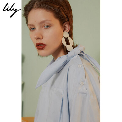 【SMART系列】Lily春新款女装全棉浅蓝领巾衬衫118330C8620 秋冬热卖限时1.3折!全场每满200减20