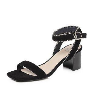 Tata/他她2018夏专柜同款羊皮金属串珠一字带粗高跟女凉鞋S2014BL8