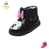迪士尼Disney童鞋米妮公主小皮靴子加绒保暖婴幼童宝宝鞋学步鞋 (0-4岁可选) DH0201