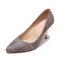 WARORWAR法国YG23-88-2新品春秋英伦反绒高跟鞋格子女士玛丽珍鞋单鞋