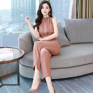 连体衣女装夏季2018新款韩版时尚高腰雪纺长裤阔腿女连体裤套装女