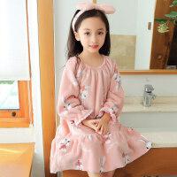 儿童珊瑚绒睡裙秋冬季女孩公主女童长袖加厚加长款法兰绒亲子睡衣