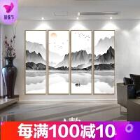 新中式装饰画 禅意山水挂画 四联组合玄关竖版沙发背景墙客厅壁画 70*210 单幅价格
